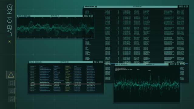 futuristic hacker interface with hud and infographic elements - control room stock videos & royalty-free footage