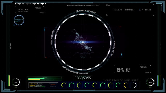 futuristic head up control center with data elements - espositore per negozio video stock e b–roll