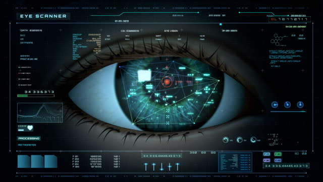 futuristic hud display retinal scan - identity stock videos & royalty-free footage