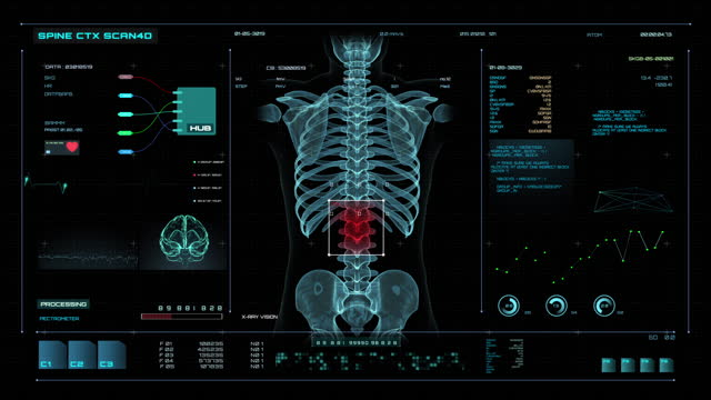 vídeos de stock e filmes b-roll de futuristic hud medicine screen data,scan the spine,3d animation - anatomia