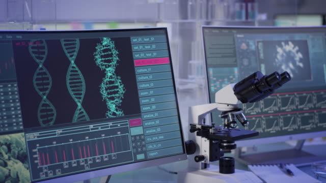 futuristic laboratory equipment - coronavirus testing. computer screens with data - biomedical illustration stock videos & royalty-free footage