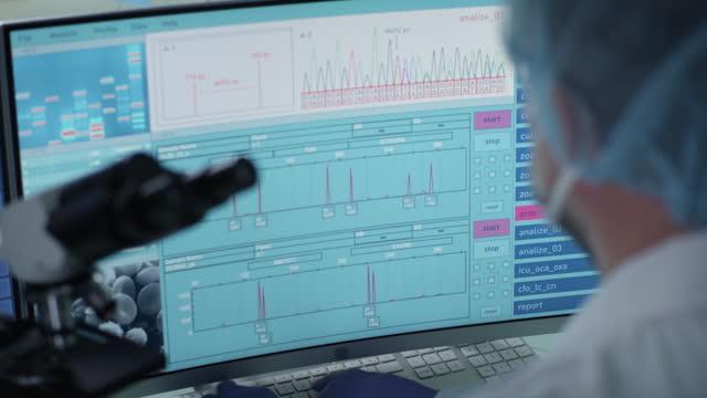 未来的な実験室装置。dna研究中の科学者の背面図。dna配列 - dna鑑定点の映像素材/bロール