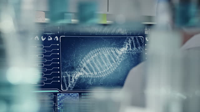 futuristic laboratory equipment. rear view of scientist during dna research. dna helix turning into particles - biomedical illustration stock videos & royalty-free footage