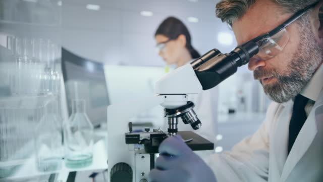 vídeos de stock, filmes e b-roll de equipamento de laboratório futurista. equipe que estuda amostras médicas usando microscópio - homem e máquina