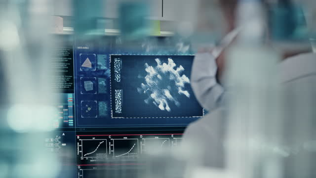covid-19 - futuristic laboratory interior. coronavirus research. rear view of scientist - scientist stock videos & royalty-free footage