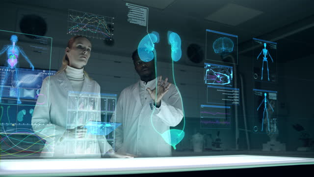futuristic laboratory with diverse scientists. holographic, three dimensional kidneys model. team scanning virtual patient for injury. - human kidney stock videos & royalty-free footage
