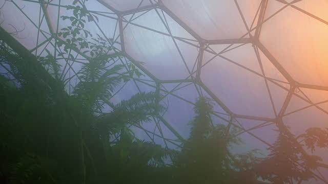 vídeos y material grabado en eventos de stock de futuristic looking dome roof with plants - cornwall inglaterra