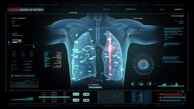 hud futuristic medical concept of the virus scan - lung stock videos & royalty-free footage