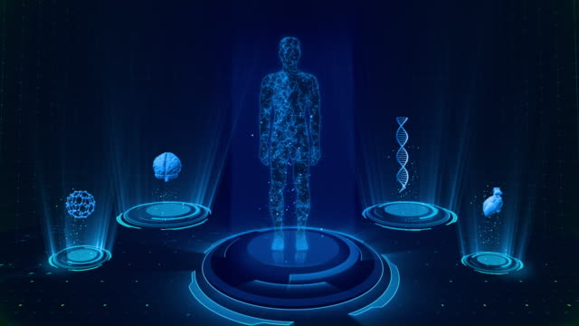 futuristic medical user interface with hud and infographic elements. virtual technology background - holographic stock videos & royalty-free footage