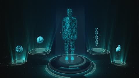 futuristiskt medicinskt användargränssnitt med hud-och infografiska element. virtuell teknik bakgrund - planering bildbanksvideor och videomaterial från bakom kulisserna