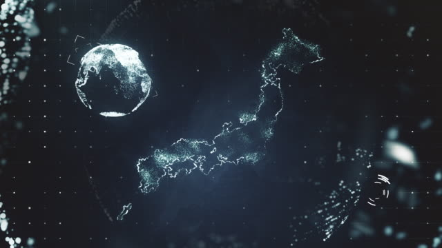 futuristic motion graphics of japan - europa continente video stock e b–roll