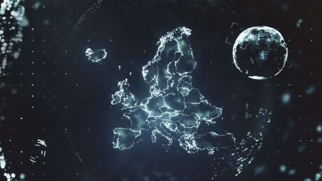 futuristic motion graphics of the european map - europa continente video stock e b–roll