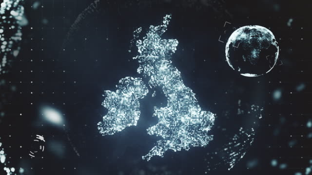 vídeos de stock e filmes b-roll de futuristic motion graphics of the united kingdom - reino unido