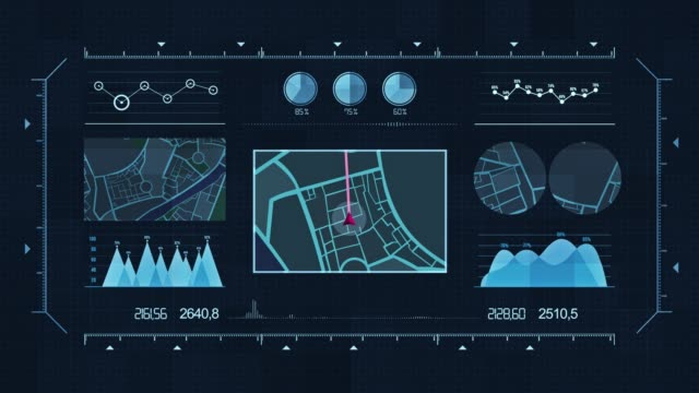 futuristic multi screen gadget panel, futuristic hud holographic digital city map, navigation animation night, navigation city map gps navigation, localization night animation. - infographic stock videos & royalty-free footage