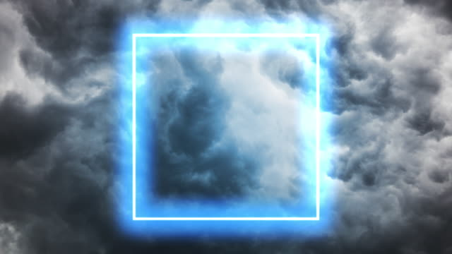 futuristic neon square gate illuminated in the dark dramatic sky. - live broadcast stock videos & royalty-free footage