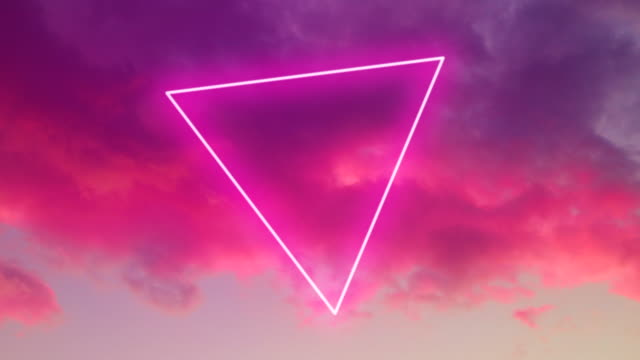 futuristic neon triangle shape in the stunning burning sky with pink colors. - perfektion stock-videos und b-roll-filmmaterial