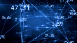 Futuristic Network with Numbers and Lines. Blue Background. Looped. HD 1080.