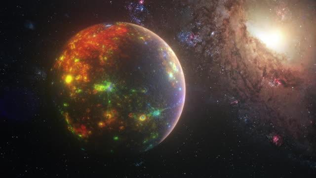 vídeos de stock e filmes b-roll de futuristic planet mercury with glowing alien lights - filme documentário