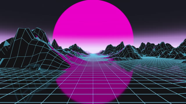 futuristic render in motion through cyber digital landscape with big low sun. synthwave style - computer equipment stock videos & royalty-free footage