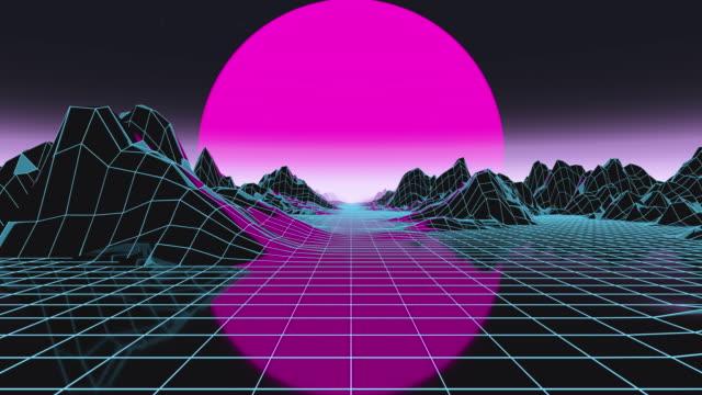 futuristic render in motion through cyber digital landscape with big low sun. synthwave style - fluchtpunktperspektive stock-videos und b-roll-filmmaterial