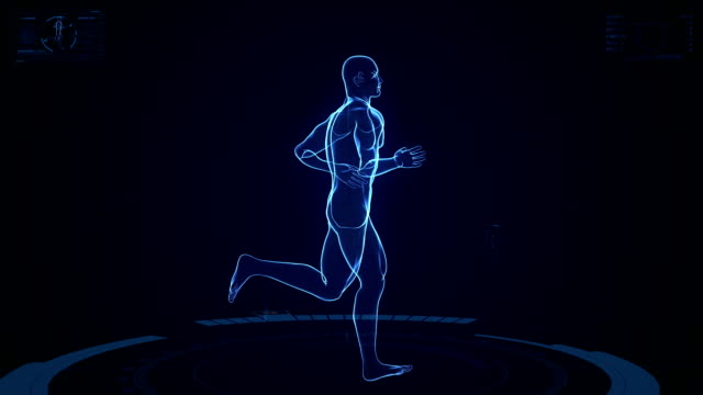 futuristic running man background - outline stock videos & royalty-free footage