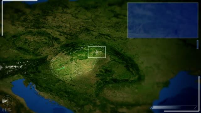 futuristico immagini satellitari vista di budapest - ungheria video stock e b–roll
