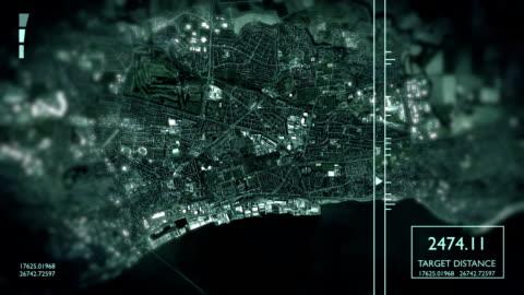 futuristic satellite image view of city - surveillance stock videos & royalty-free footage