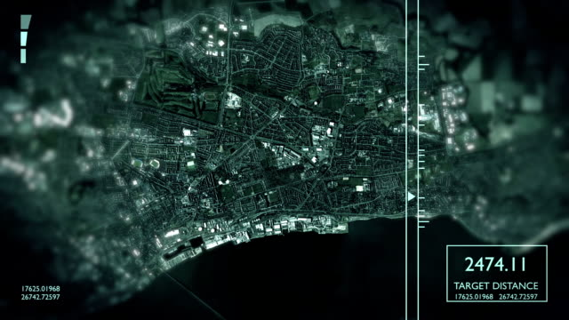 futuristic satellite image view of city - surveillance stock videos and b-roll footage