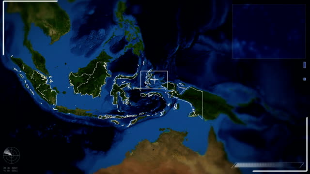 futuristic satellite image view of jakarta - indonesia map stock videos & royalty-free footage