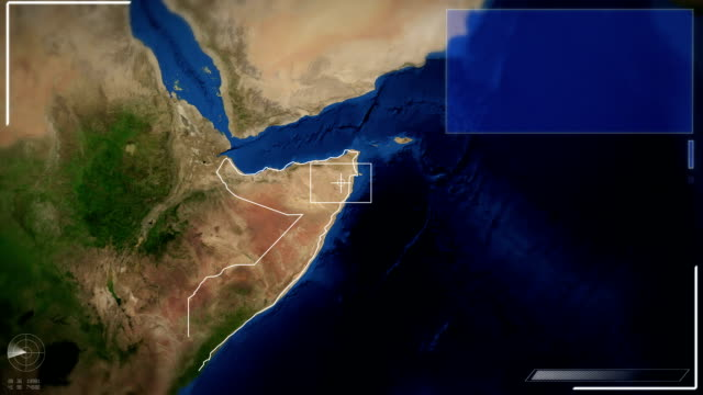 Futuristische Satelliten Bild Blick auf Mogadischu