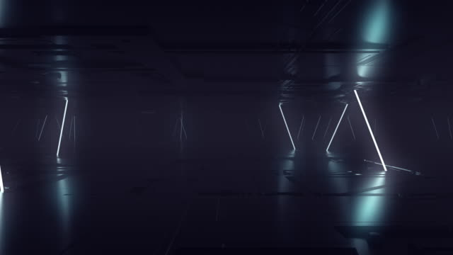 vídeos de stock e filmes b-roll de futuristic sci fi dark empty room with white neon glowing line tubes on grunge concrete floor with reflections 3d rendering animation - escuro