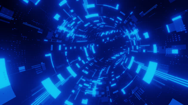 futuristic scifi digital tunnel - macchina del tempo video stock e b–roll