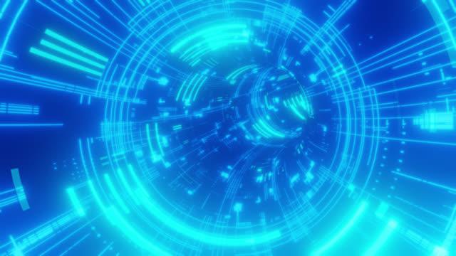 futuristic scifi digital tunnel - time machine stock videos & royalty-free footage