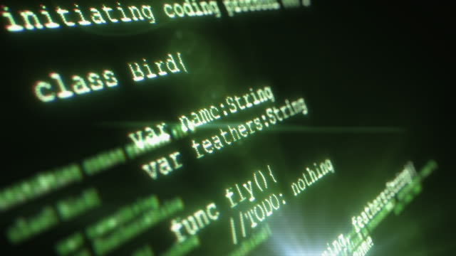 futuristic screen with programming code - byte stock videos & royalty-free footage