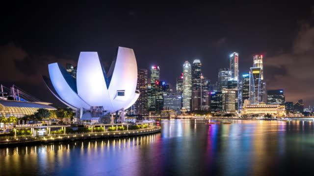 T/L WS Futuristic Skyscrapers at Night / Singapore