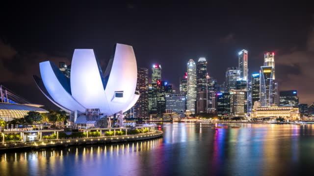T/L WS ZI Futuristic Skyscrapers at Night / Singapore