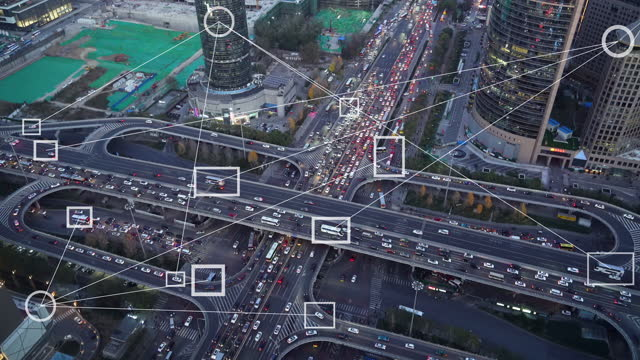 stockvideo's en b-roll-footage met t/l futuristisch smart traffic automotive sensing system concept - peking