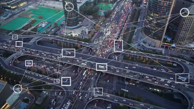 vídeos y material grabado en eventos de stock de concepto futurista del sistema de detección automotriz de tráfico inteligente - inteligencia artificial