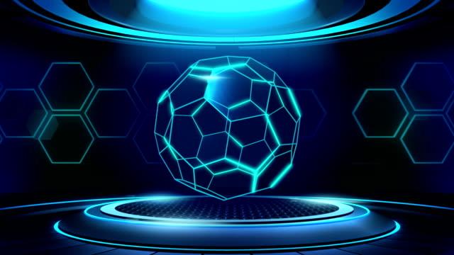 futuristische fußball-bühne neon glühen, loopable animation - geografische lage stock-videos und b-roll-filmmaterial