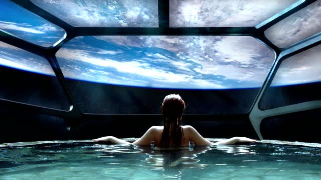 未来的スパ瞑想。超絶メタファー - 宇宙船点の映像素材/bロール