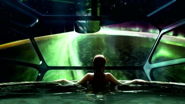 futuristic spa meditation. transcendence metaphor - mindfulness stock videos & royalty-free footage