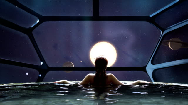 futuristic spa meditation. transcendence metaphor - razzo spaziale video stock e b–roll
