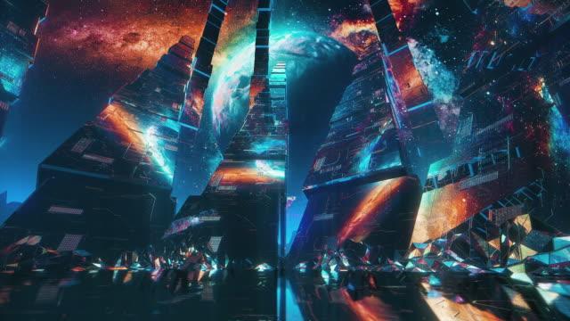 未来的な空間シーン。80年代スタイル - 宇宙船点の映像素材/bロール