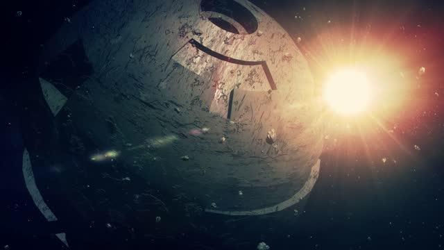 vídeos de stock e filmes b-roll de futuristic space station - gigante personagem fictícia