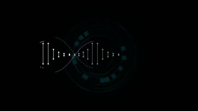 vídeos de stock e filmes b-roll de futuristic style movement of dna model particles abstract - combinação química