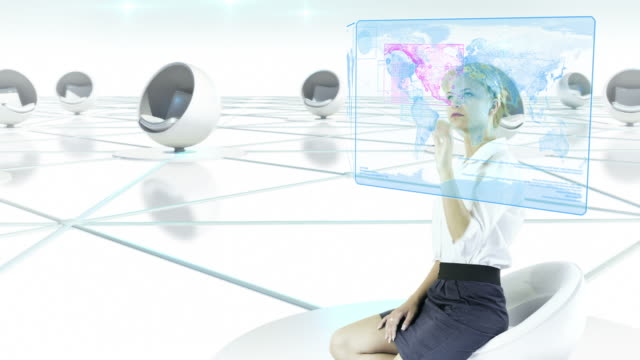Futuristic Touch Screen. Businesswoman working.