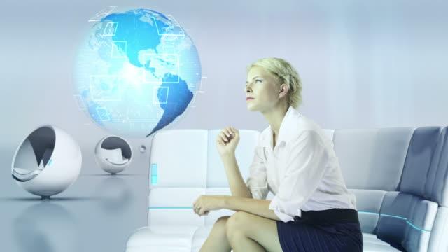 Futuristic Touch Screen. Businesswoman working.