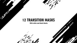 12 futuristic transition masks. Abstract motion graphics and animated background with white and black block figures. Transition monochrome masks templates