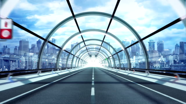 Futuristic tunnel. City version. HD loop.