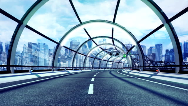 Futuristico tunnel. Versione della città. HD loop.